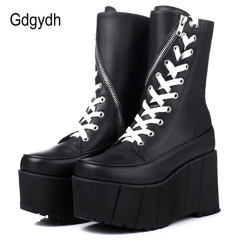 Gdgydh Handmade Genuine Leather Boots Women White Spring Autumn Fashion Zipper Motorcyle Boots Woman Thick Bottom Wedge Shoes