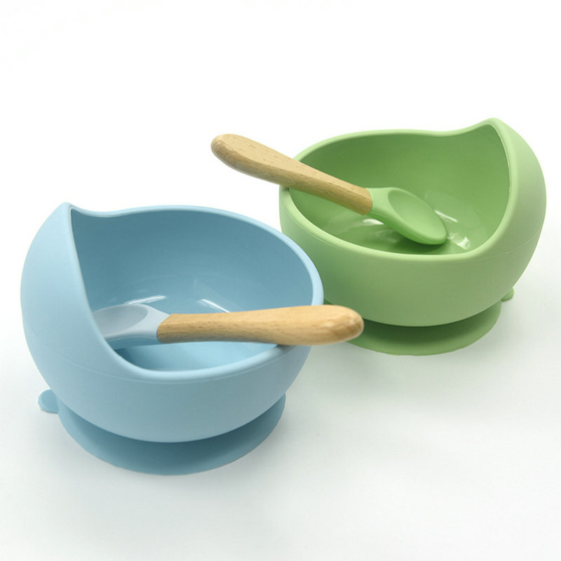 Baby Silicone Feeding Set  Wooden Spoon Suction Bowl Kids Toddler Assist Tableware BPA Free High Quality Silicone