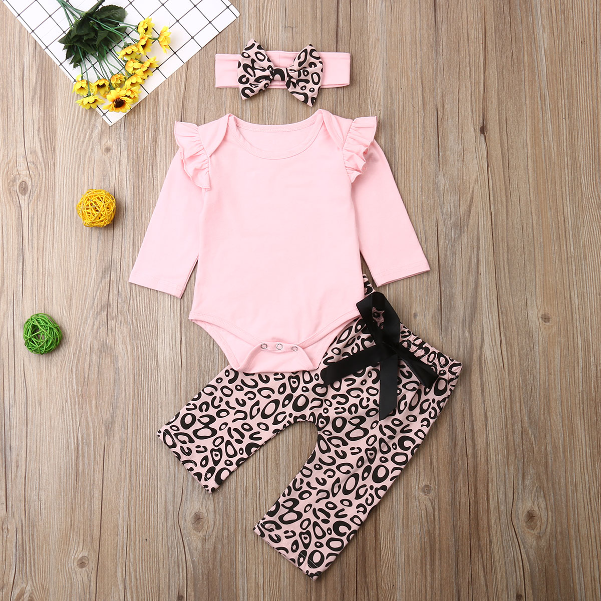 Pudcoco Newborn Baby Girl Clothes Fly Sleeve Knitting Cotton Romper Tops Leopard Print Long Pants Headband 3Pcs Outfits Clothes