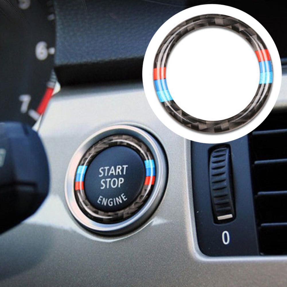 Автомобильная кнопка запуска двигателя из углеродного волокна Кнопка зажигания декоративная отделка для BMW 3 серии E90 E92 E93 E89 Z4 2009 2010 2011