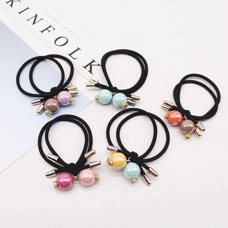 2019 Limited For 4 Pieces Discount Korean Version Of The New Cute Cartoon Crystal Beads Hair Rope High Elastic Pearl Head Ring