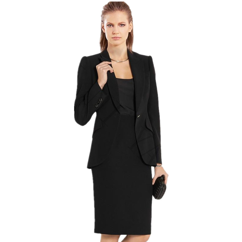 Black Women Skirt Suits Formal Business OL Elegante Cotton Blended Autumn Spring Skirt+Jacket 2 Pieces Set For Women Clothes