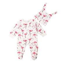 Комбинезон для маленьких девочек с изображением фламинго и цветов; комбинезон с длинными рукавами и шапочкой; комплекты осенне-зимней одежды