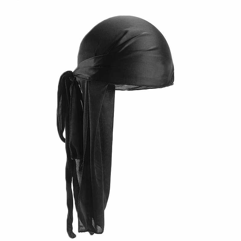 Seda durags masculino bandanna turbante chapéu perucas doo homens cetim durag motociclista headwear acessórios para o cabelo extra longo cauda du-rag