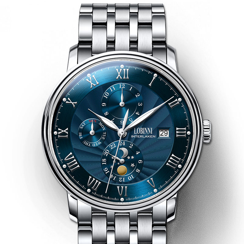 LOBINNI automatic watches for mens top brand luxury mechanical self-wind wrist watch relogio masculino waterproof luminous