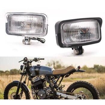 Universal Retro Motorcycle Headlight Black Rectangle Front Head Lamp For Suzuki Honda Cafe Racer Bobber Triumph