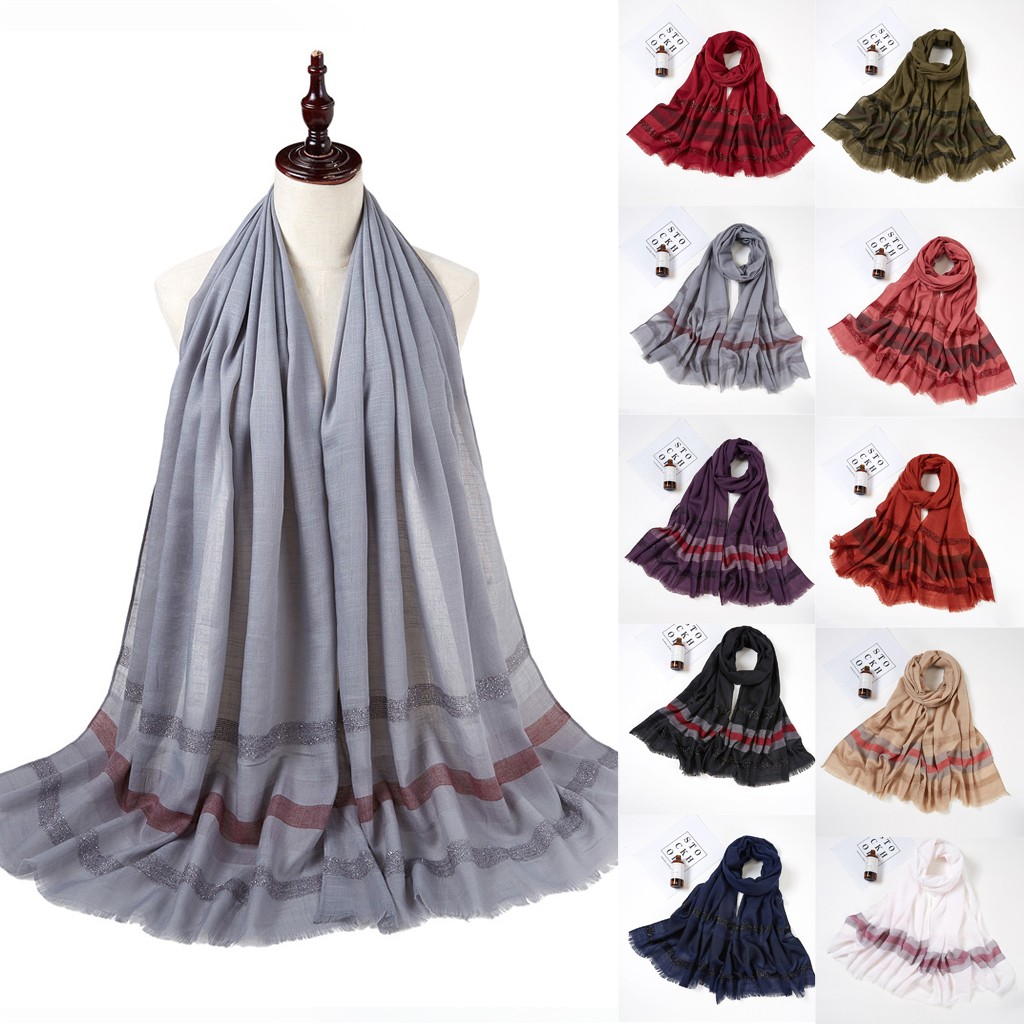 2020 New Winter Women Striped Sparkling Long Scarf Muslim Hijab Wrap Shawl Headwear Scarf Ins Wind Net Red Hot In Europe And