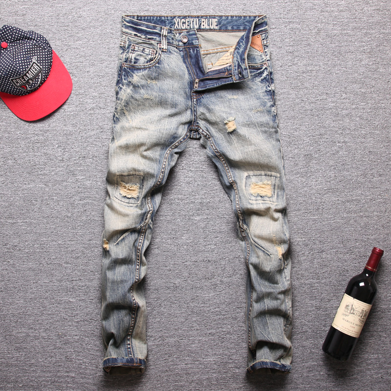 Italian Style Fashion Men Jeans Retro Wash Slim Fit Destroyed Ripped Jeans Men Biker Pants Homme Vintage Designer Hip Hop Jeans