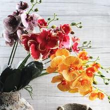2 вилки/ветка орхидеи+ Стволовые листья набор латекс искусственный цветок орхидеи Флорес для жизни декор стола в комнате искусственные цветы
