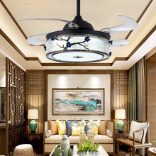 LED Retro Ceiling Fan Light Invisible Ceramic Flower Ceiling Fan Light Led Remote Control Bedroom  Ceiling Fans with Lights