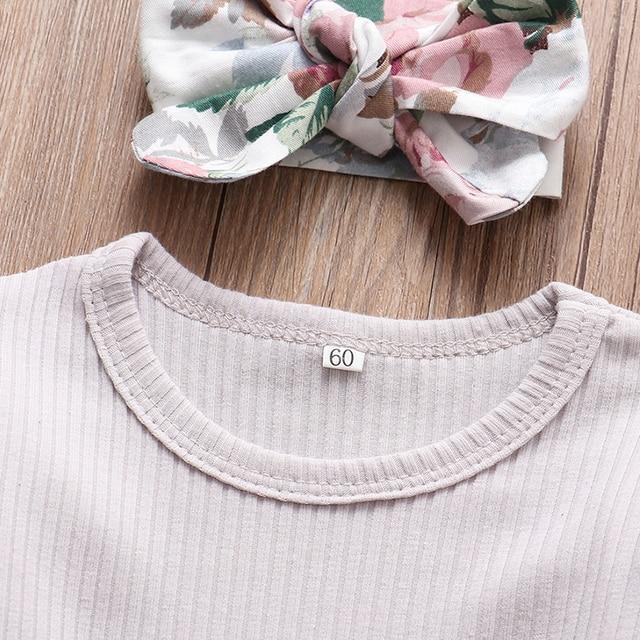 Baby Girls Long Sleeve Tops Flower Pants Headband Cute 3Pcs Toddler Clothing 2
