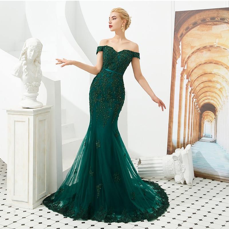 Hot Sale Dark Green   Prom     Dress   Off Shoulder Mermaid Appliques Beading Formal Long   Dress   Sweep Train Evening Gowns Abito Da Sera