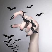 Anel gótico preto bastão voador, de metal ajustável, para mulheres, joias elegantes, festival, acessório para presente