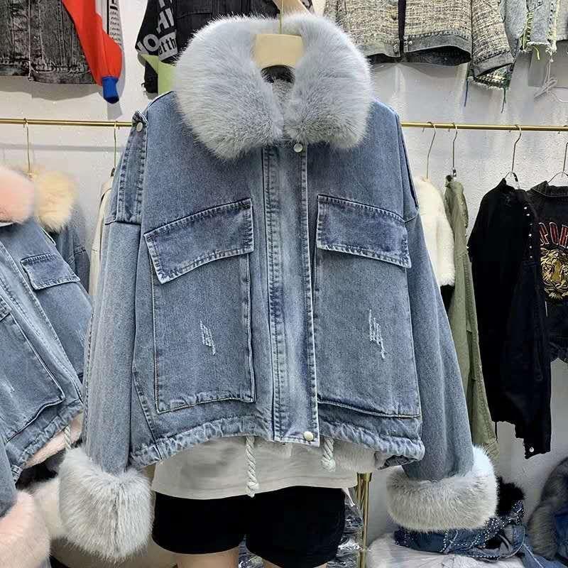 Parka Loose Cowboy Ultra Large Fur Collar Plus Velvet Cotton-padded Jacket Pocket Short Cotton-padded Clothes Cotton Coat Women'