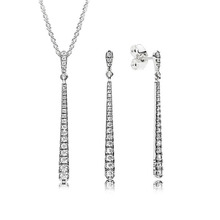 925 пробы Серебряные Элегантные сверкающие хрустальные циркониевые Висячие серьги ожерелье набор
