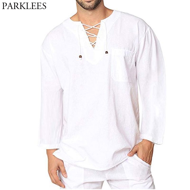 Linen Shirt Blouse Chemise Lace-Up Long-Sleeve White Breathable Casual Mens Cotton 3XL