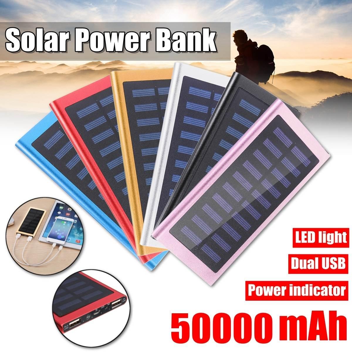 Batería Externa caliente del Banco de la energía Solar 50000mah 2 USB LED Powerbank Cargador Solar portátil del teléfono móvil para Xiaomi huawei Vivo