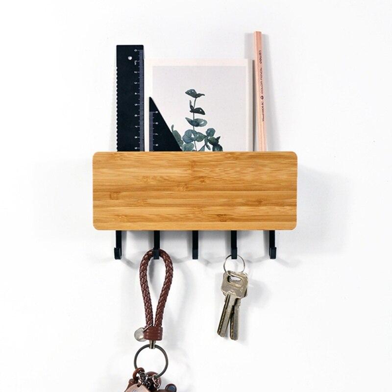 Home Space Saving Wall Hook Storage Rack Vintage Key Hook Bamboo Hanger Hallway Home Decorative Shelf For Bedroom Door Back