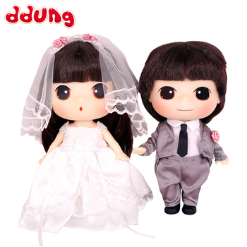 Ddung Baby Doll Set Toys 18cm Cute Romantic Confused Valentine's Day Present Couples Wedding Dress Girls Wedding Gift