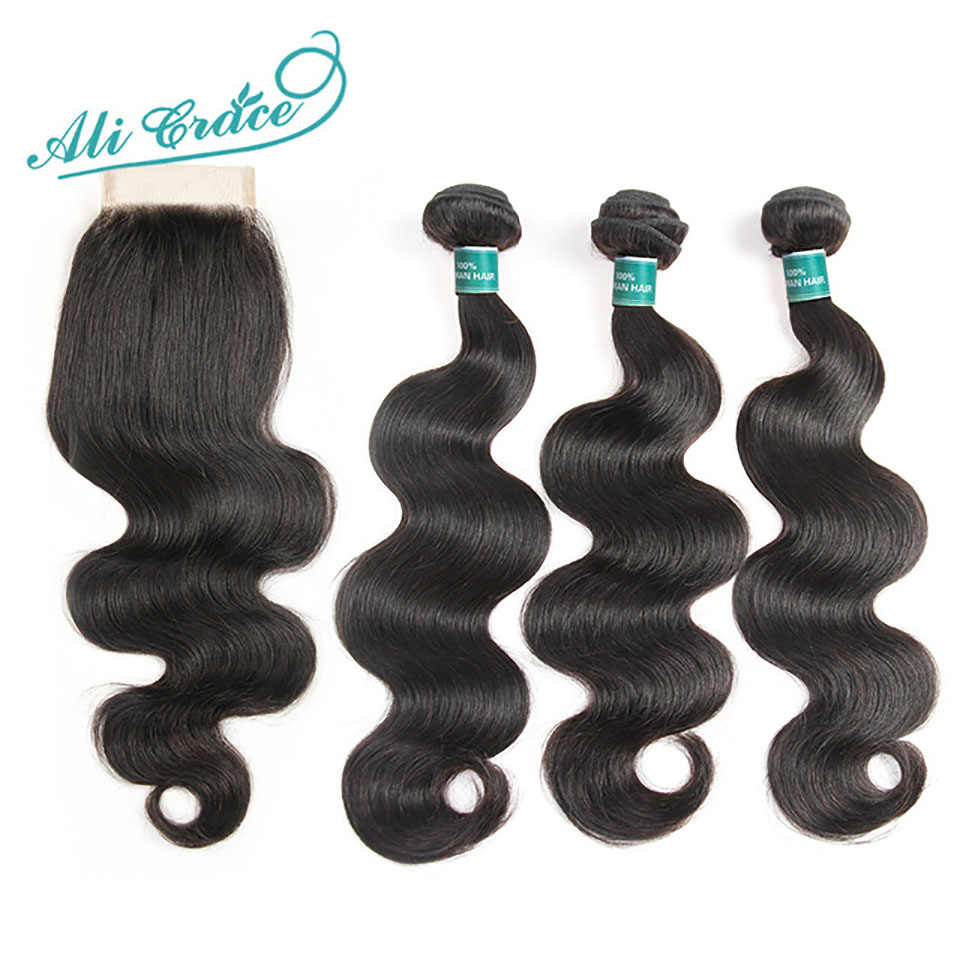 Ali Grace Brazilian Body Wave Hair With Closure 4*4 Free Middle Part Closure with Bundles Remy Human Hair Bundles With Closure