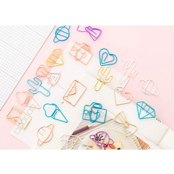 10pcs/pack Hollow Paper Clip Available In A Variety Of Colors And Styles Small Office Study Suppiles 1