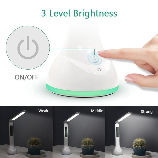 Creative LED Fold Desk Lamp Flexible USB Bedside Study Table Lamp Night Y6U1