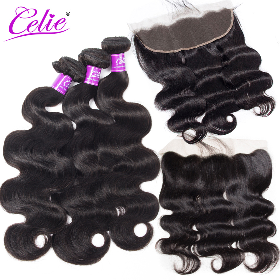 Celie Hair Brazilian Body Wave Lace Frontal With Bundles Remy Human Hair Bundles With Closure 3