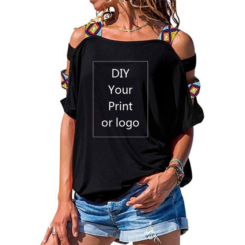 Индивидуальные печати Футболка для женщин DIY ваш как фото или логотип Топ Футболка Femme короткий рукав сексуальный открытый Топ