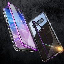 double-side tempered glass magnetic flip cover for iPhone samsung galaxy s20 ultra 2020 case metal bumper protective shell coque