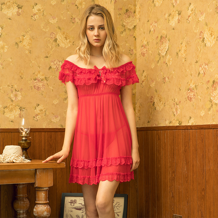 Europe And America Sexy Underwear Women Lace Temptation Sexy Pajamas Off-Shoulder Transparent Pajamas Nightgown 9415