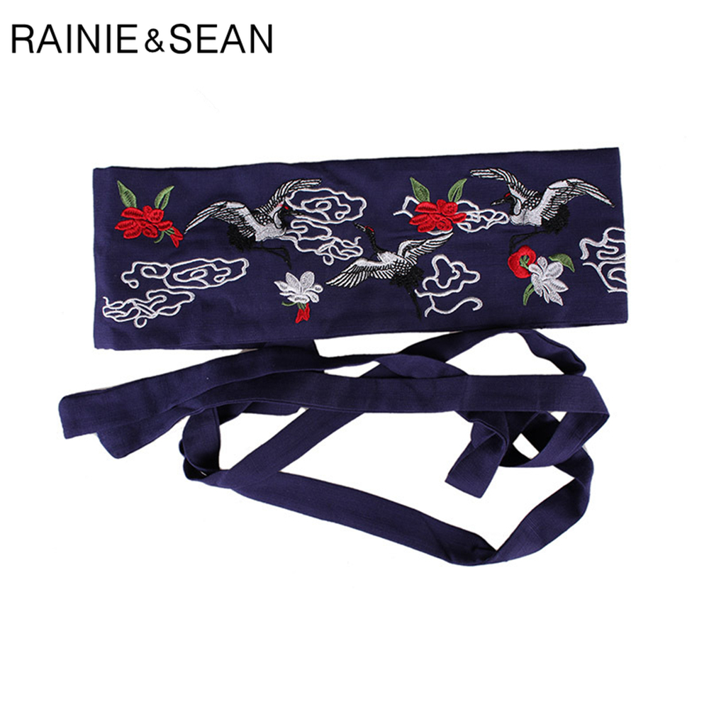 RAINIE SEAN Linen Corset Belt For Women Red-crowned Crane Embroidery Wide Waistband Ethnic Navy Red Female Wide Belt Cummerbund