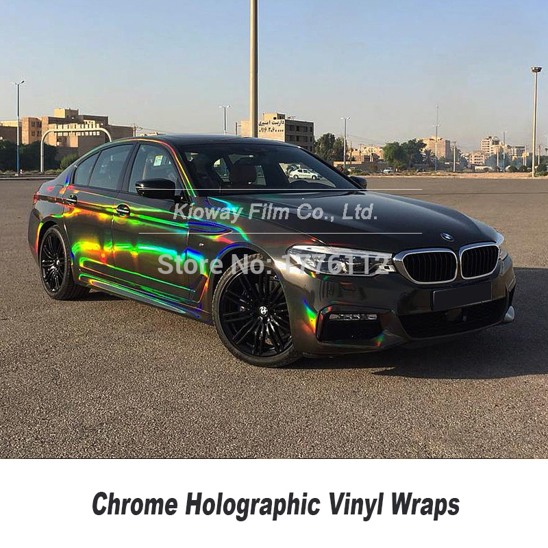 Silver Car Glossy Laser Chrome Holographic Vinyl Auto Wrap Film Air//Bubble Free