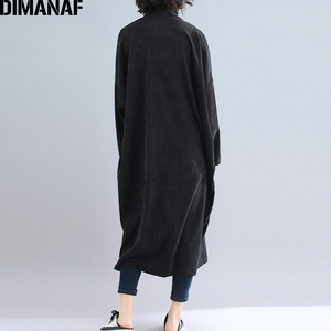 Image 4 - Dimanaf jaquetas femininas plus size longo casaco de veludo outono inverno tamanho grande cardigan roupas femininas solto oversized outerwear 2021