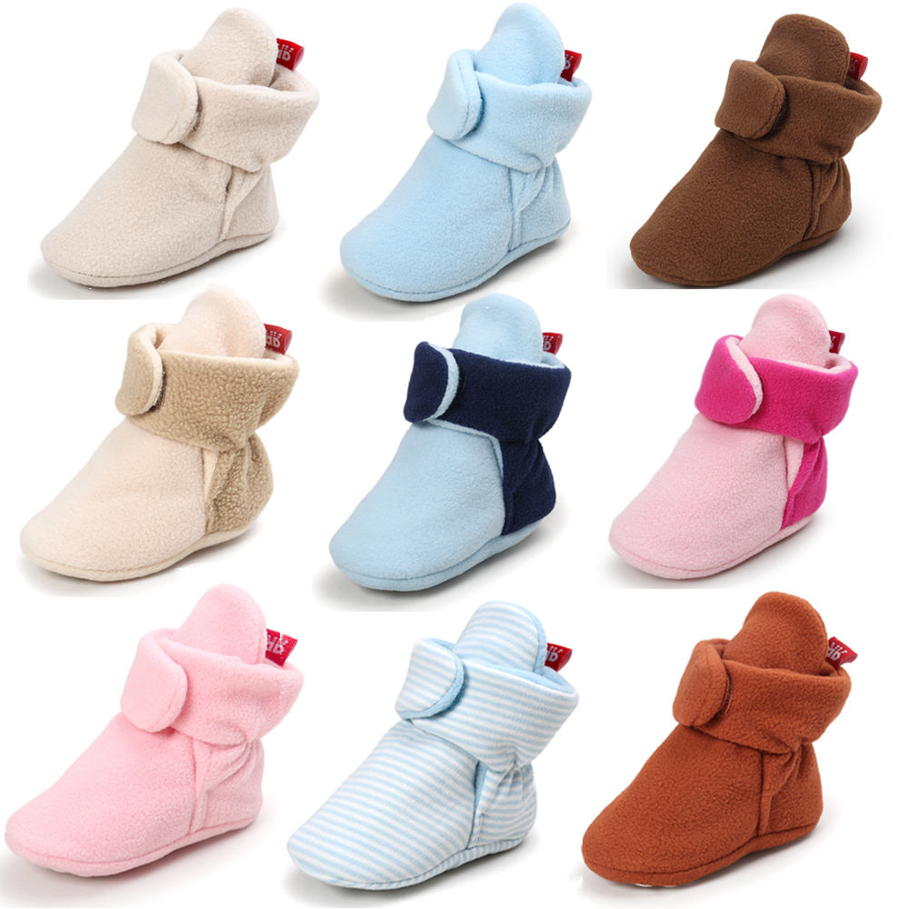 Newborn Baby Socks Shoes Booties Boy Girl Colours Toddler First Walkers Lovely Warm Cotton Soft Anti-slip Infant Crib Shoes