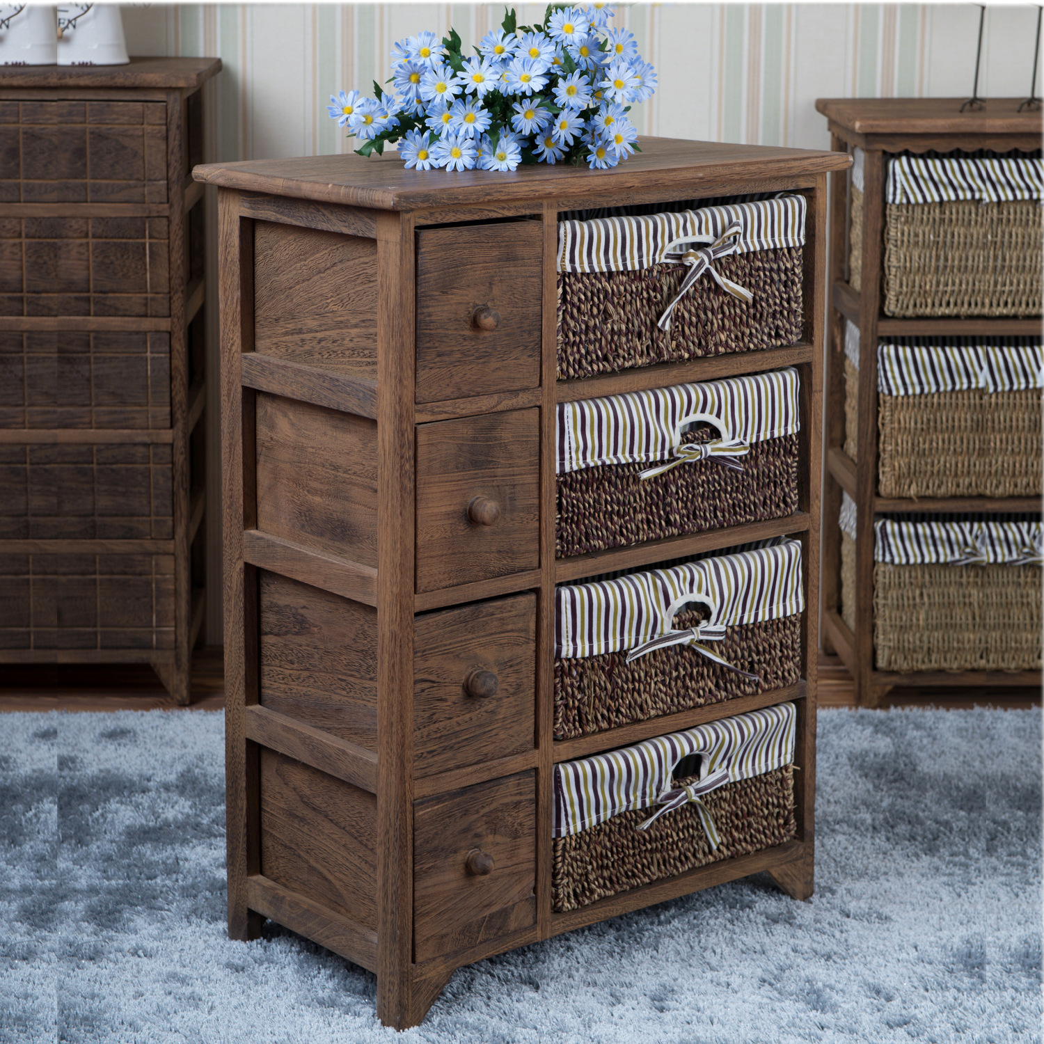 Household Products Storage Cabinets Solid Wood Drawer Type Locker Wood Rattan Wardrobe For Children Toy Storage Wholesale