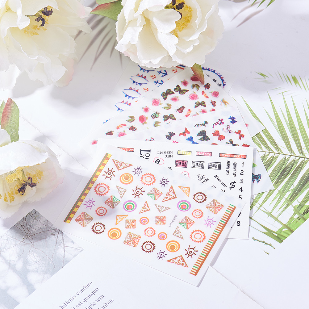 Nail Art Stickers Flowers Love Number Manicure Tools Nail Decals Tips Decorations in Stickers Decals from Beauty Health