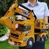 Grote Techniek Voertuig Model Gegoten Legering Metalen Auto Graafmachine Kraan Mixer Truck Model Speelgoed Muziek Licht Voor Kids outdoor Game