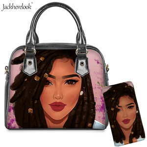 Jackherelook 2PCS Art Black Afro African Lady Girl Prints Shoulder/Messenger/Hand Bag and Wallet Daily Shopping Totes Long Purse(China)