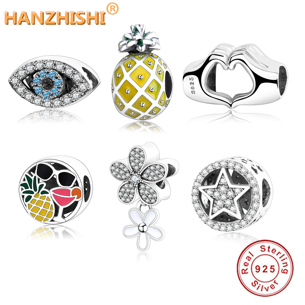 2020 Winter Collection DIY Charm Fit Original Pandora Charms Bracelet 925 Sterling Silver Hand Heart/Eye/Stars/Flower Beads Gift(China)