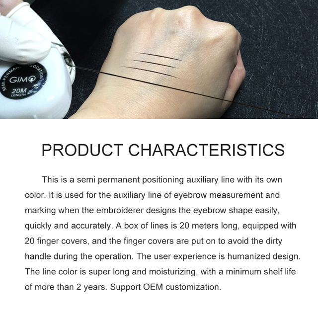 New Tattoo PMU Microblading MAPPING STRING Pre-Inked Eyebrow Marker thread Tattoo Brows Point 20m location Line with Color 5