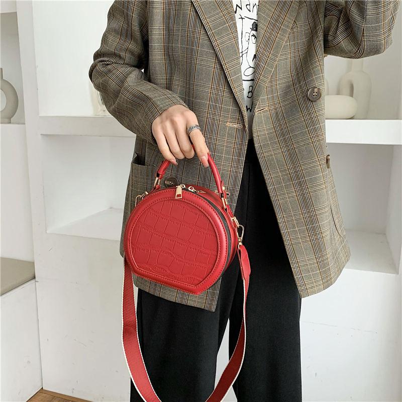 Crossbody Bag Gray Red Diagonal Plaid Womens Casual Phone Pouch Round Shoulder Bag