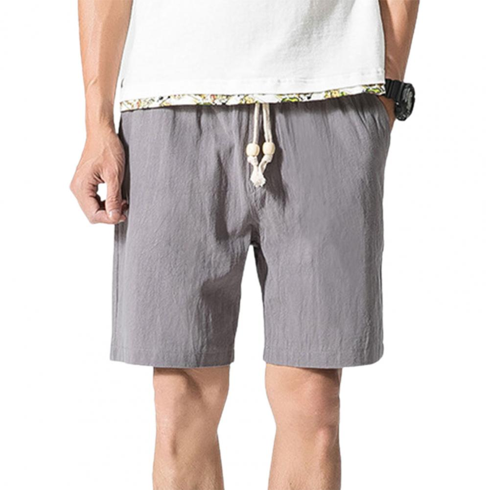 Men Beach Shorts Plus Size Casual Solid Color Drawstring Summer Loose Mid Rise Pockets Sweatpants Fitness Board Shorts 3