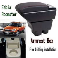 For Skoda Fabia Roomster armrest box central Store content box with cup holder ashtray USB Fabia Roomster armrests box|Armrests| |  -