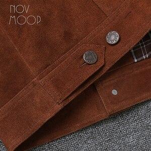 Image 5 - Novmoop veste en peau de vache, manteau dhiver pour homme, couleur marron, jaune brunâtre, style de jeunesse coréen, LT2883