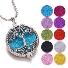 Árvore da vida aromaterapia colar difusor jóias vintage aberto medalhão pingente óleo essencial perfume aroma difusor colar