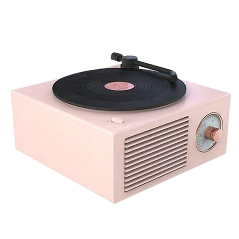 3 in 1 Gramophone Record Players,Portable Wireless o Retro Bluetooth Speaker Subwoofer Mini Speaker Soundbar(Pink)