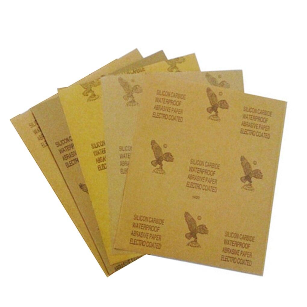 5pcs Wet Dry Sandpaper 60-2000 Grit Polishing Abrasive Sandpaper Automotive Wood Furniture Finishing Paper