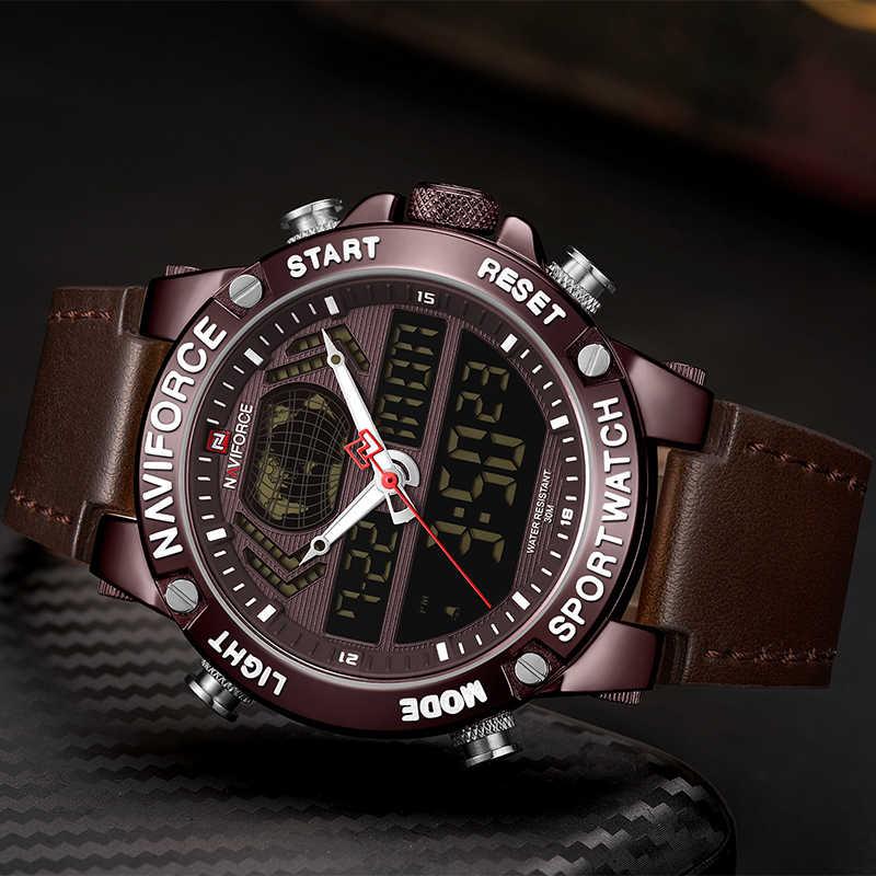 NAVIFORCE ใหม่นาฬิกาผู้ชายสุดหรูแบรนด์หนังกันน้ำกีฬานาฬิกาผู้ชายนาฬิกาดิจิตอลนาฬิกาควอตซ์ชาย Relogio Masculino