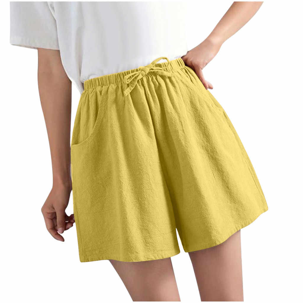 2020 novo verão quente casual algodão linho shorts feminino plus size cintura alta shorts moda calças curtas streetwear