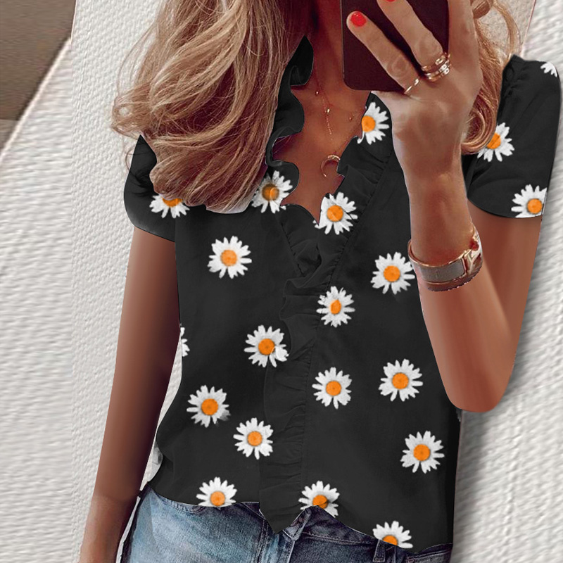 3XL Summer Short Sleeve Printed Blouse Shirt Women Sexy Ruffle V-Neck Shirts Pullover Elegant Office Lady Blusa Tops Streetwear